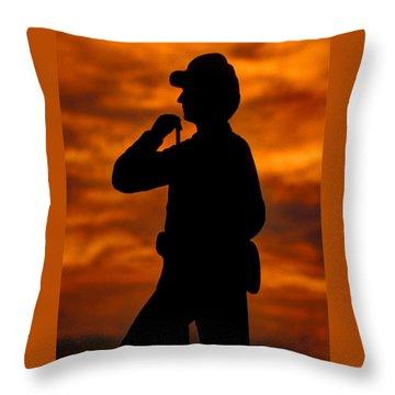 Sky Fire - Flames Of Battle 7th Pennsylvania Reserve Volunteer Infantry-a1 Sunset Antietam Throw Pillow by Michael Mazaika