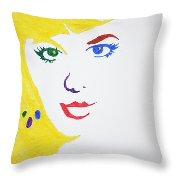 Throw Pillow featuring the painting Blonde Mother Nature by Stormm Bradshaw