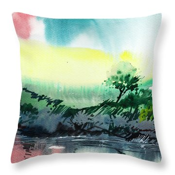 Sky N Lake Throw Pillow by Anil Nene