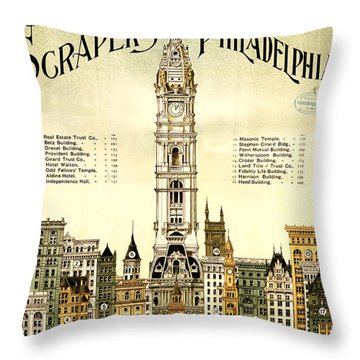 Sky Scrapers Of Philadelphia 1896 Throw Pillow by Bill Cannon