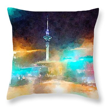 Sky Tower By Night Throw Pillow
