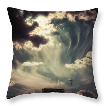 Sky Wisps Over A Double Decker Throw Pillow