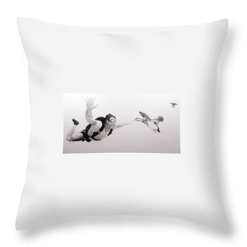 Skydiver Throw Pillow by Angel Ortiz