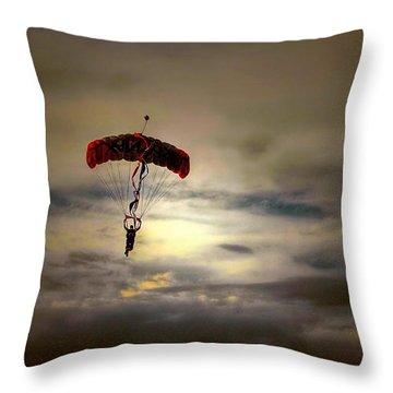 Evening Skydiver Throw Pillow