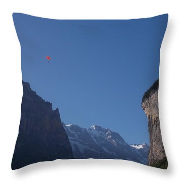 Skydiver Over Lauterbrunnen Throw Pillow