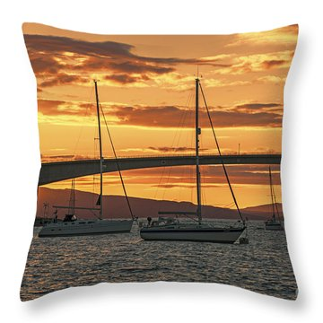 Skye Bridge Sunset Throw Pillow by Chris Thaxter