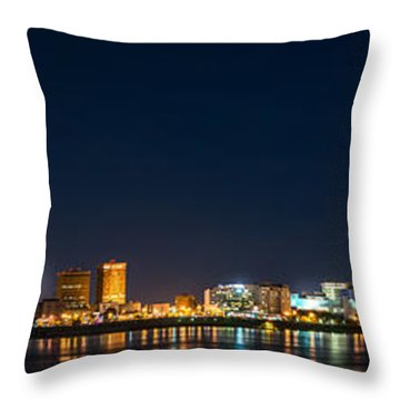 Skyline Fireworks Throw Pillow by Andy Crawford