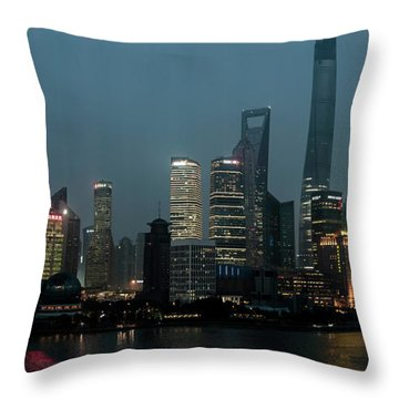 Skylines At The Waterfront At Night Throw Pillow