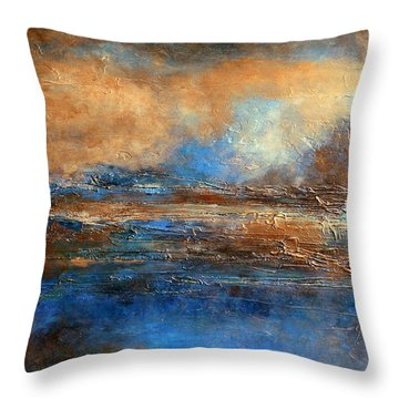 Skyrim A Heavily Textured Blue Brown And Beige Abstract Painting Throw Pillow