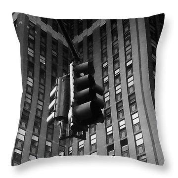 Skyscraper Framed Traffic Light Throw Pillow