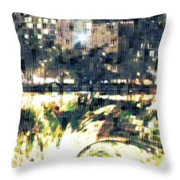 Skyscraper Reflection Painting Throw Pillow by PainterArtist FIN