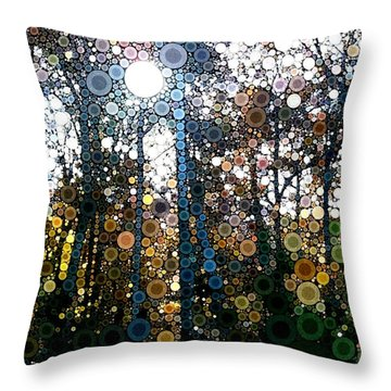 Skyway Forest At Dawn Throw Pillow by Linda Bailey