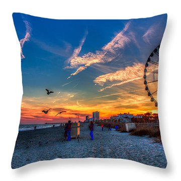 Skywheel Sunset At Myrtle Beach Throw Pillow