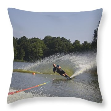 Slalom Waterskiing Throw Pillow
