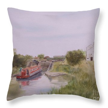 Throw Pillow featuring the painting Slapton Lock by Martin Howard