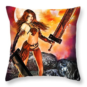 Slashing With Wolves Throw Pillow