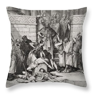 Slaughter Of The Sons Of Zedekiah Before Their Father Throw Pillow by Gustave Dore