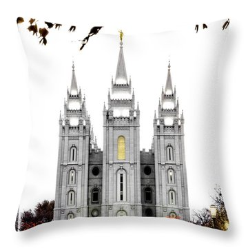 Slc White N Red Temple Throw Pillow by La Rae  Roberts