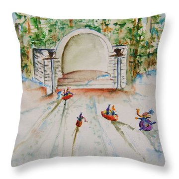 Sledding At Devou Park Throw Pillow