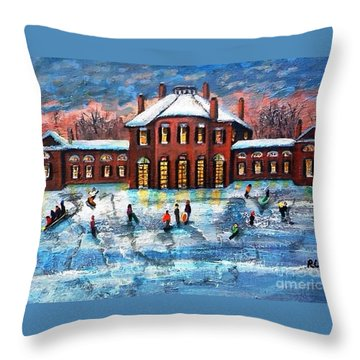 Throw Pillow featuring the painting Sledding At The Gore Estate by Rita Brown