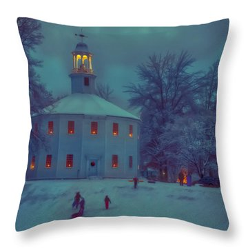 Sledding At The Old Round Church Throw Pillow by Jeff Folger