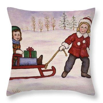 Sledding Throw Pillow by Linda Mears