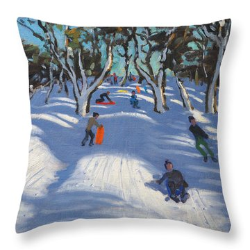 Sledging At Ladmanlow Throw Pillow by Andrew Macara