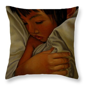 Throw Pillow featuring the painting Sleep by Thu Nguyen