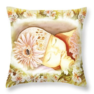 Throw Pillow featuring the painting Sleeping Baby Vintage Dreams by Irina Sztukowski