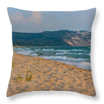 Sleeping Bear Dunes At Sunset Throw Pillow by Sebastian Musial