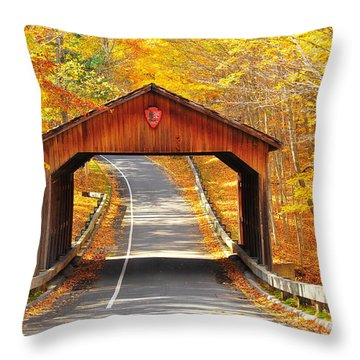 Sleeping Bear National Lakeshore Covered Bridge Throw Pillow by Terri Gostola