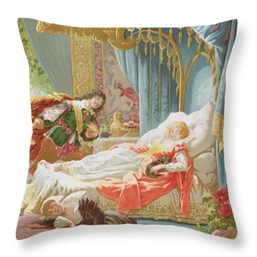 Sleeping Beauty And Prince Charming Throw Pillow by Frederic Lix