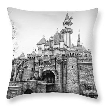 Sleeping Beauty Castle Disneyland Side View Bw Throw Pillow by Thomas Woolworth