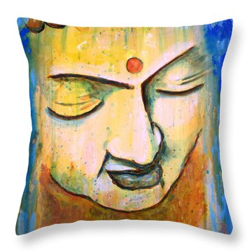 Sleeping Buddha Head Throw Pillow by Bob Baker