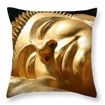 Sleeping Buddha Throw Pillow by Nola Lee Kelsey