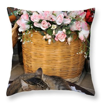 Sleeping Cat At Flower Shop Throw Pillow