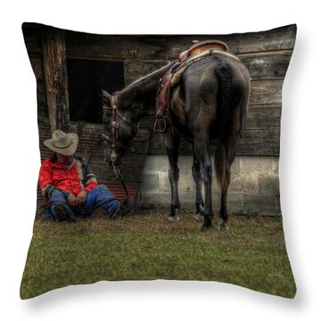 Throw Pillow featuring the photograph Sleeping Cowboy by Donald Williams