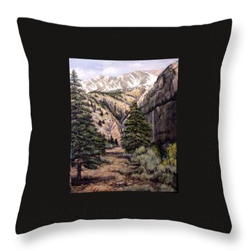 Throw Pillow featuring the painting Sleeping Faces In The Rock by Donna Tucker