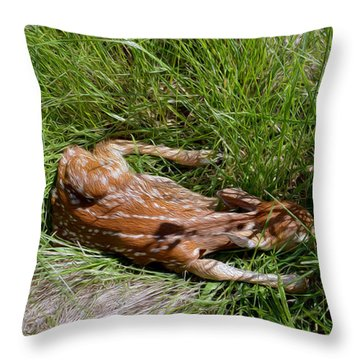 Sleeping Fawn Throw Pillow
