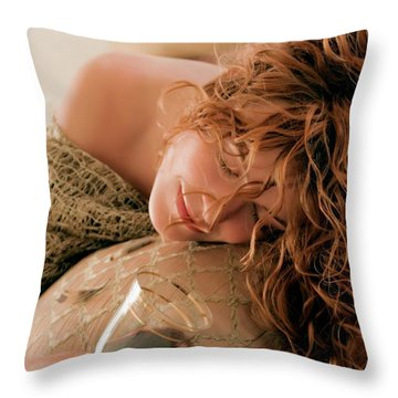 Sleeping Girl With A Glass Of Wine Throw Pillow