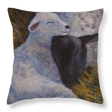 Sleeping In A Manger Throw Pillow by Jana Baker