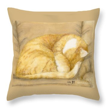 Sleeping Orange Tabby Cat Feline Animal Art Pets Throw Pillow by Cathy Peek