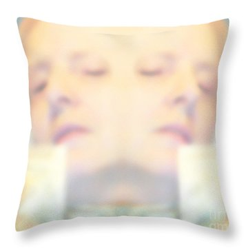 Sleeping Woman Drifting In Dreams Throw Pillow