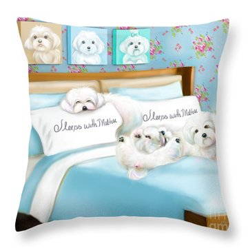 Sleeps With Maltese Throw Pillow