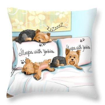 Sleeps With Yorkies Throw Pillow by Catia Cho