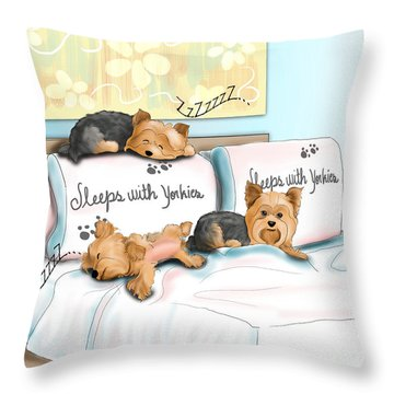 Sleeps With Yorkies Throw Pillow