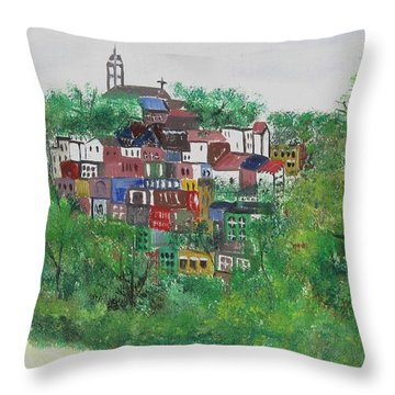 Sleepy Little Village Throw Pillow