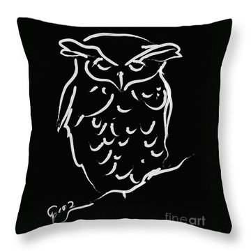 Throw Pillow featuring the painting Sleepy Owl by Go Van Kampen
