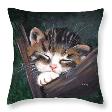 Sleepy Time Throw Pillow by Catherine Swerediuk