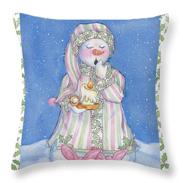 Sleepy-time Snowgal Throw Pillow